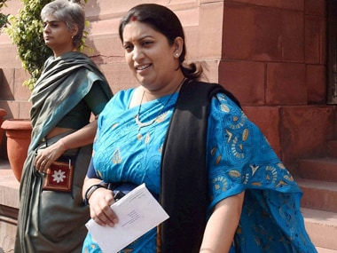 Smriti Irani meets Kerala literary figure MK Sanoo as part of BJP's 'Sampark for Samarthan' programme