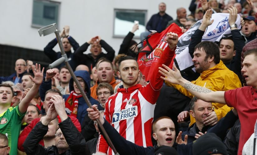 Sunderland fans celebrate their survival in the top-flight of English football. AFP
