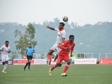 Aizawl FC's Joel Sunday in action in semi-final first leg against Salgaocar. AIFF
