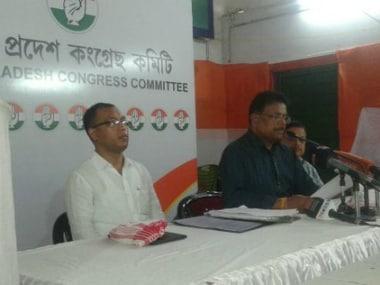 Ripun Bora addressing a press meet at Rajiv Bhawan on Friday Twitter @AssamPCC