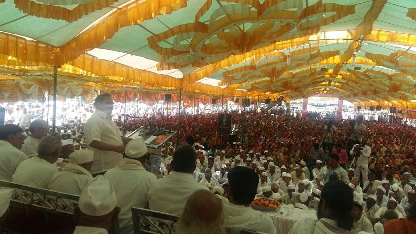 Khadse at the temple function in Muktainagar. Image procured by Sanjay Sawant