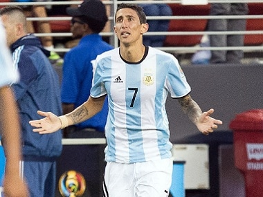 Angel di Maria celebrates after scoring a goal. Reuters