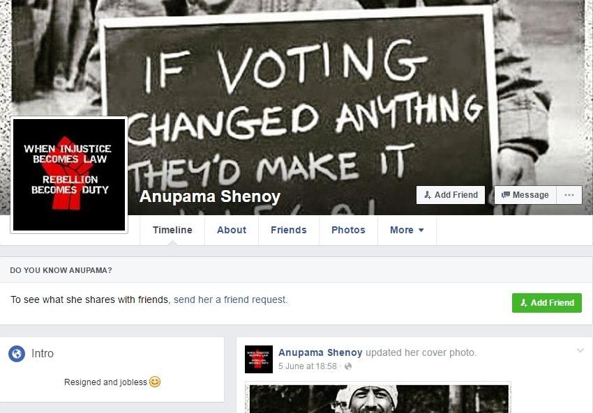 Anupama Shenoy's Facebook Page