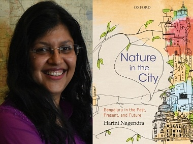 Harini Nagendra (L); the cover of her book