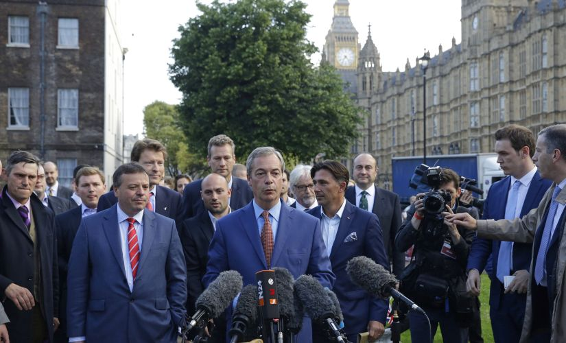 """Nigel Farage, the leader of the UK Independence Party called the Brexit, """"Independence Day"""". AP"""