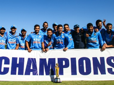 The victorious Indian team pose with the ODI series trophy after pulling off a 10-wicket win in the third and final one-dayer. AFP