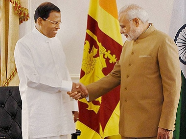 File photo of PM Modi and Sirisena. PTI