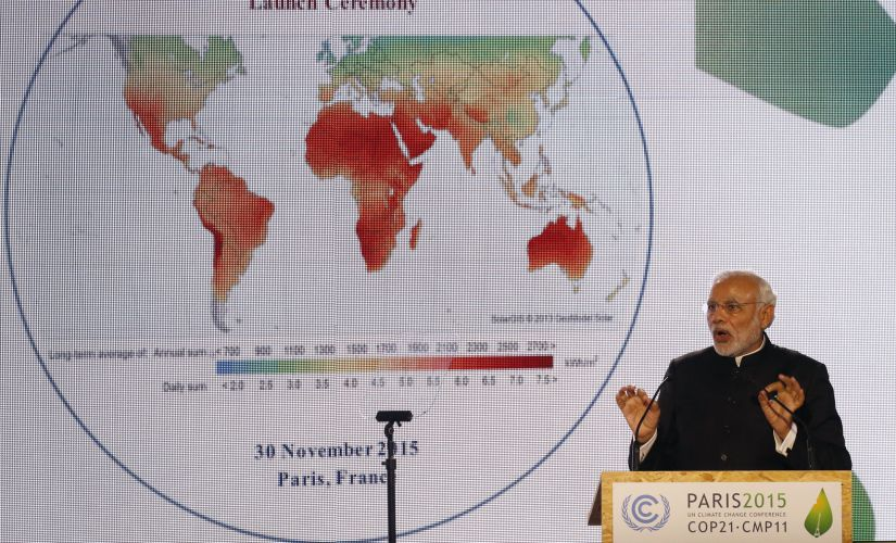 Prime Minister Narendra Modi delivers a speech during the launch of the International Solar Alliance on the opening day of the World Climate Change Conference 2015 (COP21) last year. Reuters