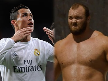 Cristiano Ronaldo and Hafþór 'The Mountain' Björnsson.