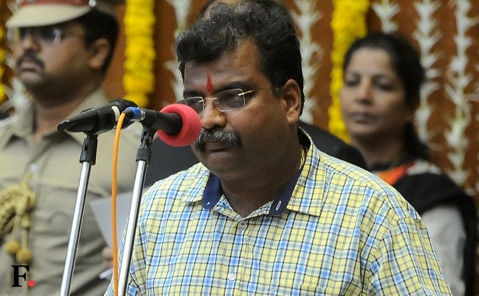 Ravindra Chavan took oath as minister of state. Political watchers say that the post is a reward for Chavan as it was under his leadership that BJP increased their share of seats in the Kalyan Dombivli Municipal Corporation election in November 2015. Sachin Gokhale/Firstpost