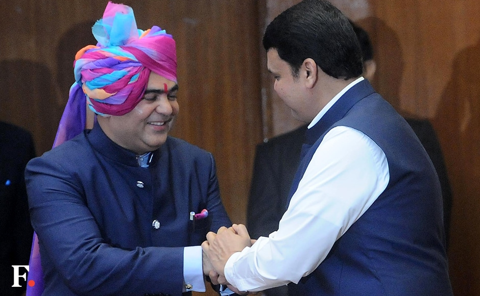 Jaykumar Rawal, a two-time BJP MLA from Dondai, meets CM Fadnavis after being inducted as cabinet minister. Analysts say that he was chosen because the government needed a strong representative from northern Maharashtra after the exit of the previous representative, Eknath Khadse. Sachin Gokhale/Firstpost