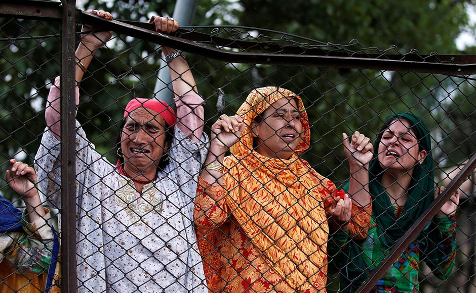 Kashmiri women mourn the death of Wani, a commander in the Hizbul Mujahideen outfit. Former J&K chief minister Omar Abdullah tweeted,