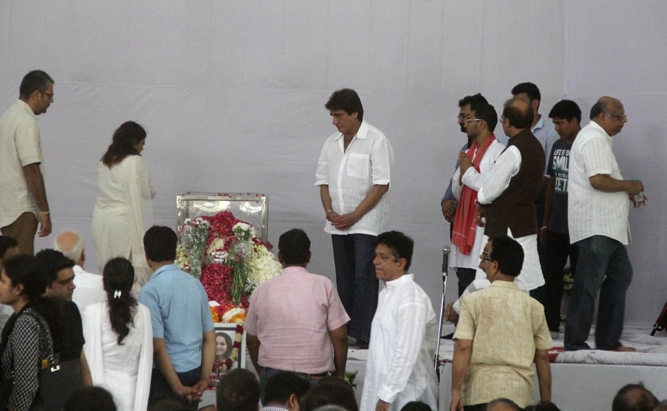 Congress leader Raj Babbar along with friends and relative pay their last respect to teenager Tarushi Jain, in Gurgaon, outskirts of New Delhi, India on July 4, 2016, after she was killed by attackers at a cafe in the Bangladeshi capital Dhaka late July 1. The Indian teenager was among 20 foreigners who were killed after being taken hostage by a group of attackers at an upmarket cafe in Bangladesh capital Dhaka . (Jyoti Kapoor/ SOLARIS IMAGES)