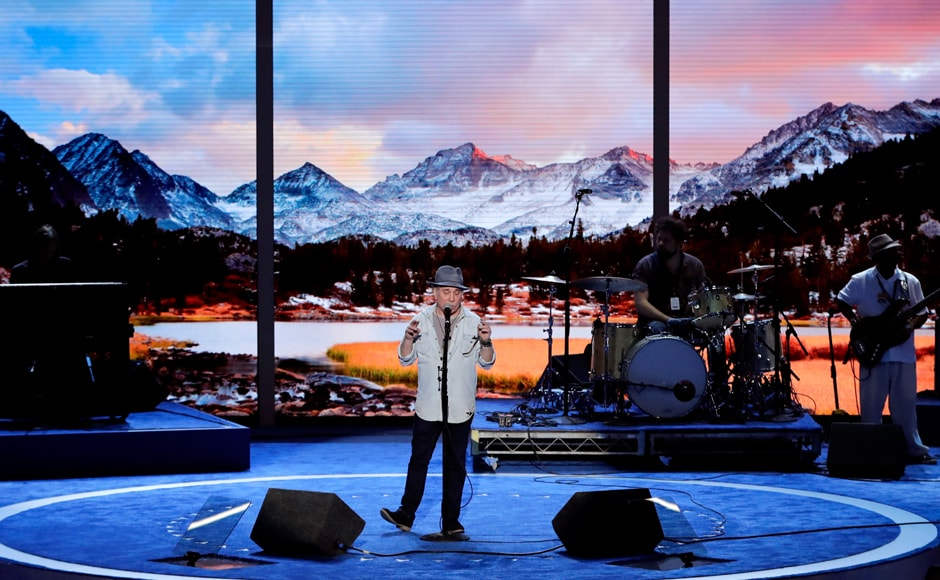 Singer/songwriter Paul Simon rehearses at the Wells Fargo Center. The 74-year-old American has won 12 Grammy Awards and was part of the duo Simon & Garfunkel. AP