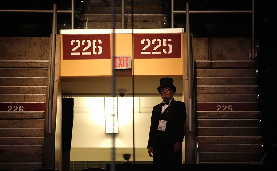 A delegate dressed as former US president Abraham Lincoln only added to the sense that the convention was more like a large country fair. Reuters