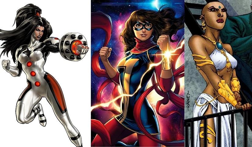(L-R) Omega, Ms Marvel Kamala Khan, Jinx