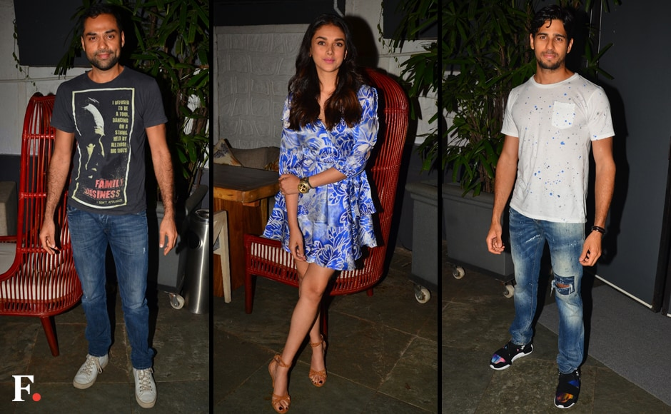 Abhay Deol, Aditi Rao Hydari, Sidharth Malhotra at the party. Sachin Gokhale/Firstpost
