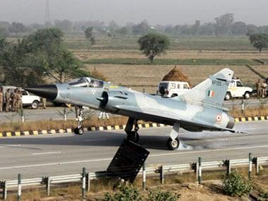 An Indian Air Force IAF Mirage 2000 lands at Yamuna Expressway in Uttar Pradesh in 2016. PTI