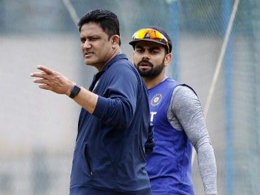 India head coach Anil Kumble (left) and Test skipper Virat Kohli. AP