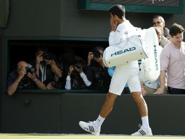 Novak Djokovic leaves the court after losing his men's singles match against Sam Querrey. AP