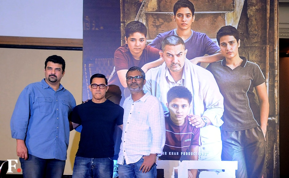 Aamir was accompanied by director Nitesh Tiwari and producers Disney India's Siddharth Roy Kapur at the poster launch. Image by Sachin Gokhale/Firstpost