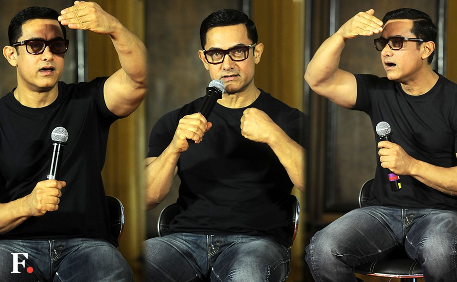 Amir Khan launched the poster of his film 'Dangal' at an event in Mumbai on Monday, 4 July 2016. Aamir plays Mahavir Singh Phogat in the movie, which traces how Phogat trained his daughters Geeta and Babita to become medal-winning wrestlers. Image by Sachin Gokhale/Firstpost