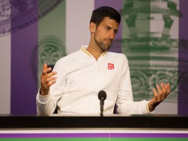 Novak Djokovic during a press conference after losing his match against Sam Querrey. Reuters