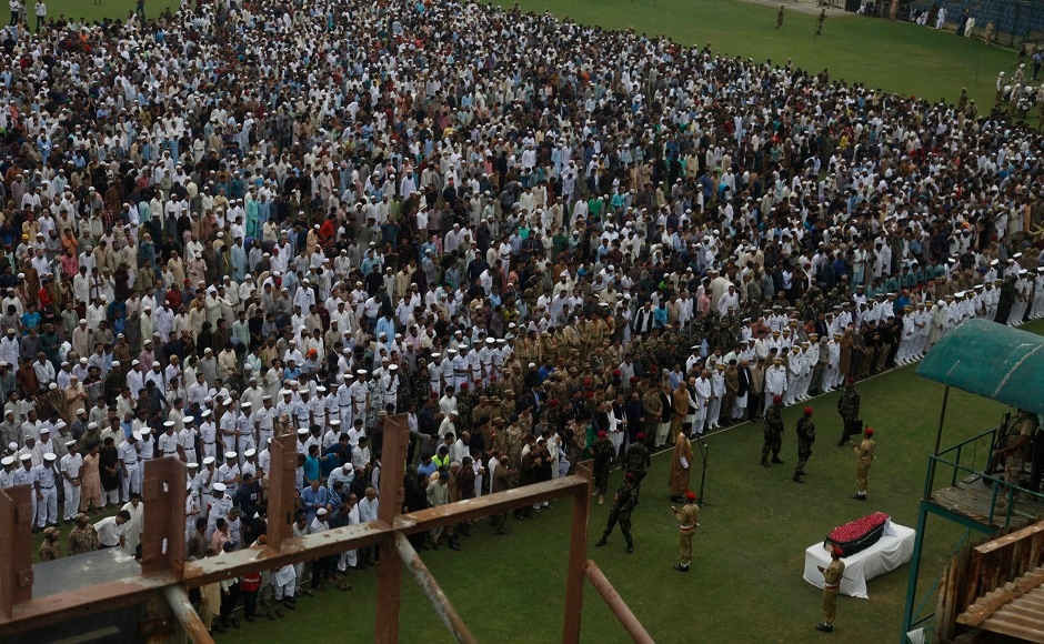 Tens of thousands of people attended the state funeral at a stadium and thousands more were unable to get to the venue. Edhi established his charitable foundation almost six decades ago. It owns and runs Pakistan's largest ambulance service, nursing homes, orphanages, clinics and women's shelters, along with rehabilitation centers and soup kitchens. AP