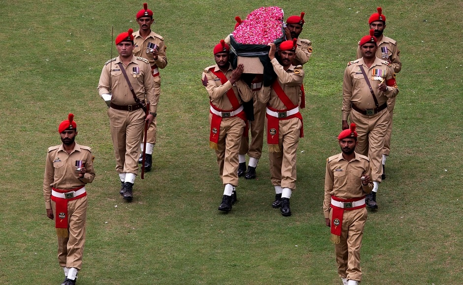 Pakistani soldiers carry the coffin containing the body of Edhi for the funeral. Pakistan gave Edhi a state funeral in recognition of his services to the country. A 19 gun salute was given, Pakistan's army spokesman, Lt. Gen. Asim Bajwa, tweeted. AP