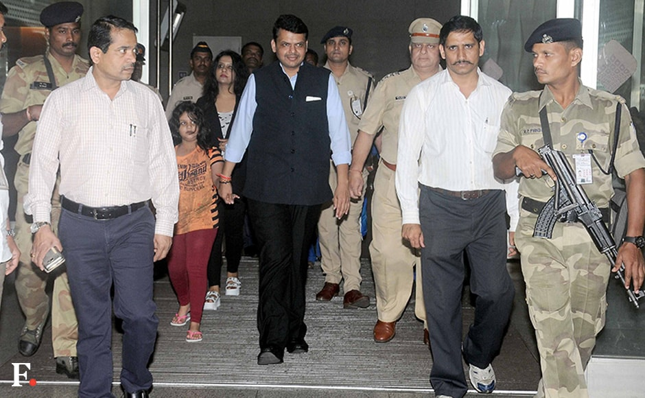 Maharashtra Chief Minister Devendra Fadnavis returned from his official visit to Russia on Thursday with wife Amrita and daughter Divija. He landed in Mumbai early Thursday morning. Photo: Firstpost/Sachin Gikhale