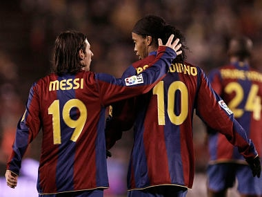 File photo of Lionel Messi and Ronaldinho. Getty Images