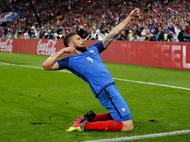 Olivier Giroud celebrates after scoring his second goal against Iceland. Reuters