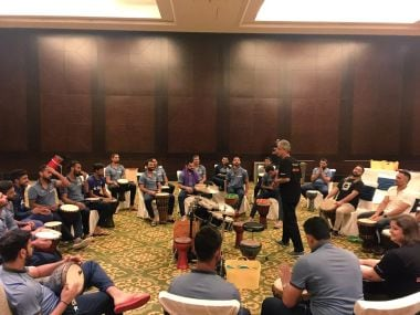 Indian cricket team during a bonding session before the West Indies tour. BCCI