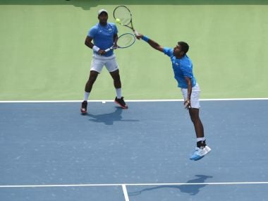 File photo of Leander Paes and Rohan Bopanna playing in the Davis Cup. AFP