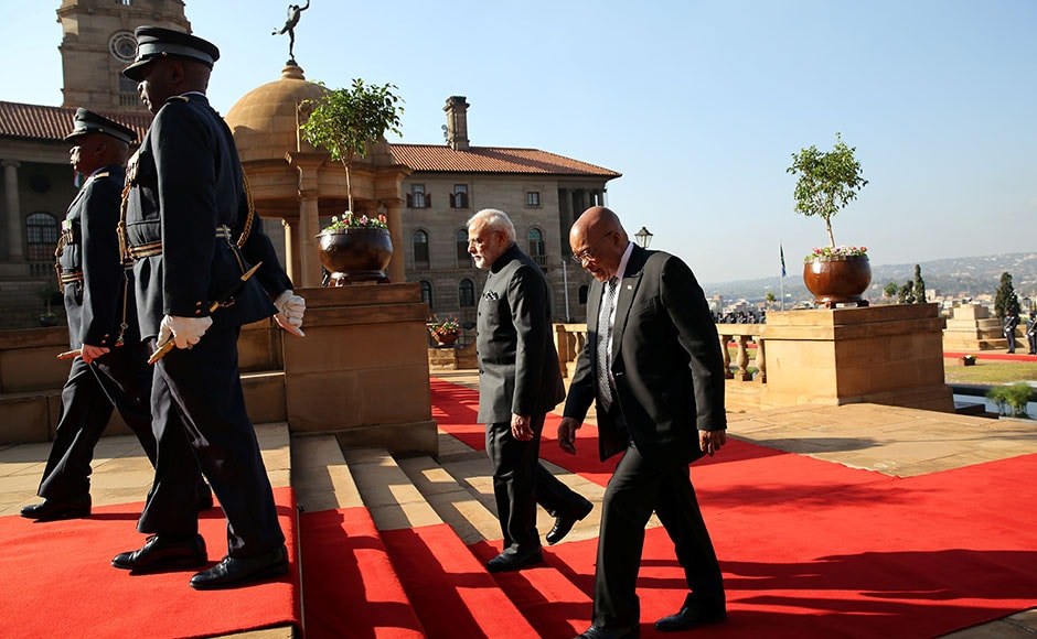 Prime Minister Narendra Modi was welcomed by South Africa's President Zuma during his state visit at the Union Buildings in Pretoria. Reuters
