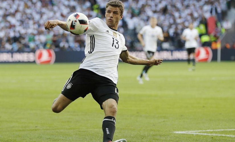 Thomas Mueller will hope to stop his European Championship jinx and score against Italy. AP