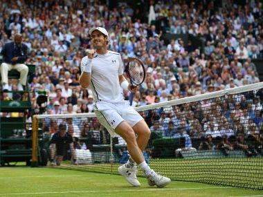 Andy Murray celebrates defeating Tomas Berdych at Wimbledon 2016. AFP