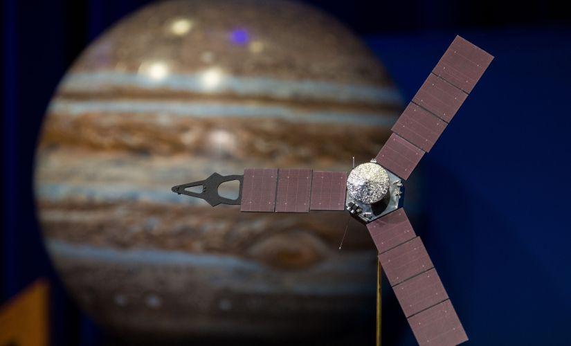 This NASA photo obtained on Monday shows a model of the Juno spacecraft at a news briefing, held before Juno entered the orbit around Jupiter. AFP