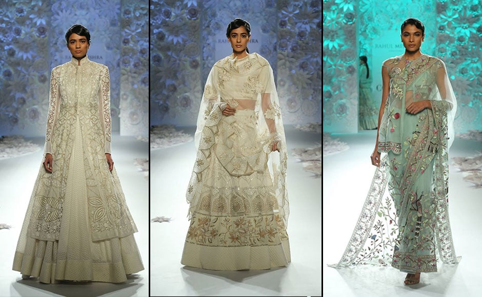 Mishra reinvented the colour palette for the modern-day bride in lehengas, anarkalis, sarees. Facebook/ Fashion Design Council of India