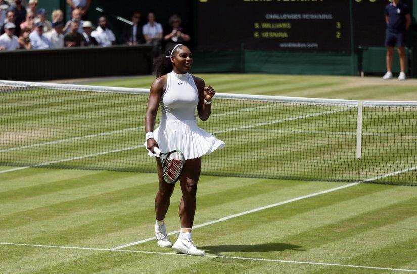 Serena Williams celebrates after beating Elena Vesnina in the semis. AP