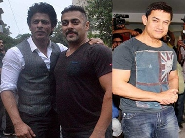 Shah Rukh with Salman Khan after their early morning bicycle ride; Aamir Khan. Images from Sachin Gokhale/Firstpost, IBNlive