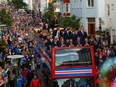 Icelandic soccer fans celebrate as their national team comes home to a hero's welcome from the Euro 2016. AP