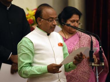 Vijay Goel takes oath as Sports Minster after cabinet reshuffle. AFP