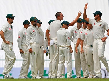 Australian team celebrate a wicket of hosts' Sri Lanka. AP