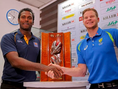 Sri Lanka captain Angelo Mathews and Australia captain Steven Smith. AP