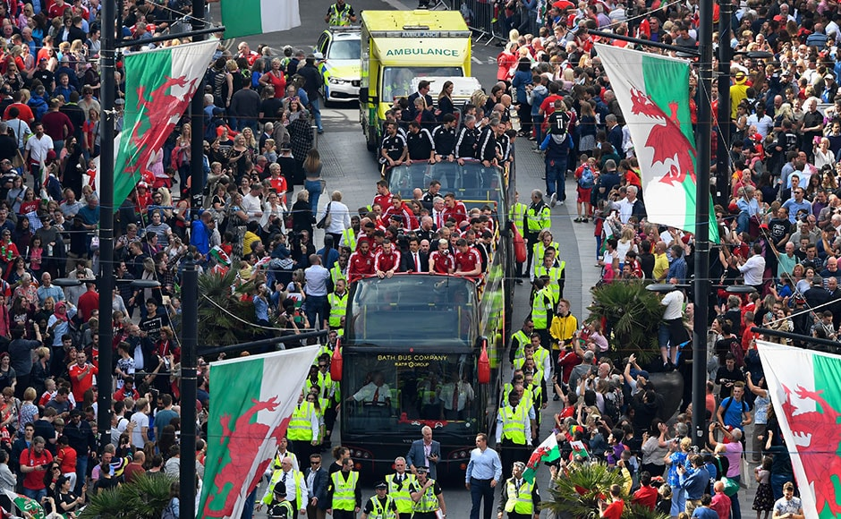 The Wales Football squad head down St Mary's street on their bus parade around Cardiff on their EURO 2016 homecoming tour on July 8, 2016 in Cardiff, Wales. Getty