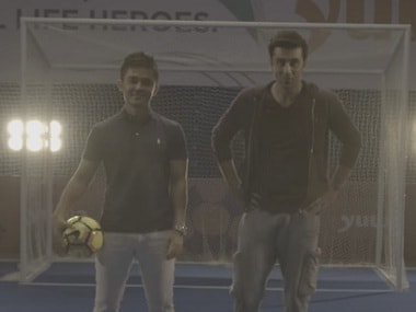 Ranbir Kapoor and Suni Chhetri. Screengrab