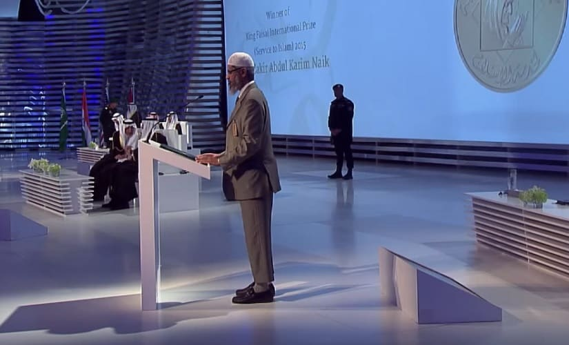 Zakir Naik delivering his acceptance speech after receiving the Shah Faisal award in 2015. Screen grab from YouTube