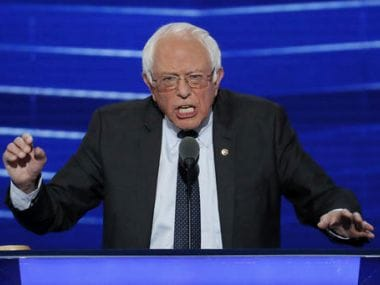 Bernie Sanders at the Democratic National Convention in Philadelphia on Monday. AP