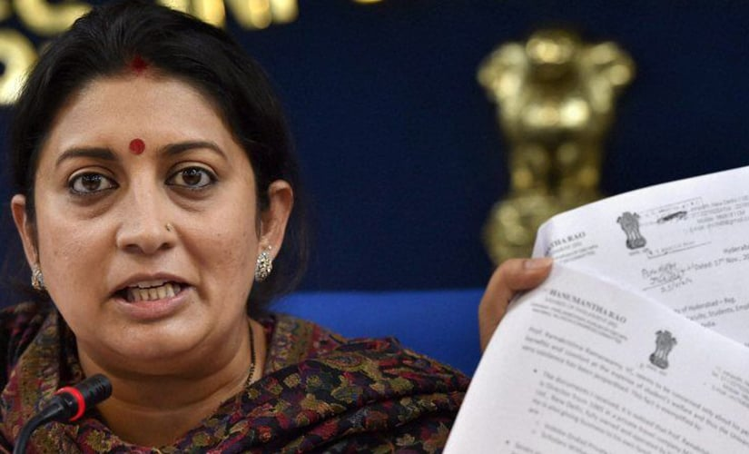 Smriti Irani addressing a press conference regarding suicide of Rohith Vemula in the University of Hyderabad, in New Delhi. PTI